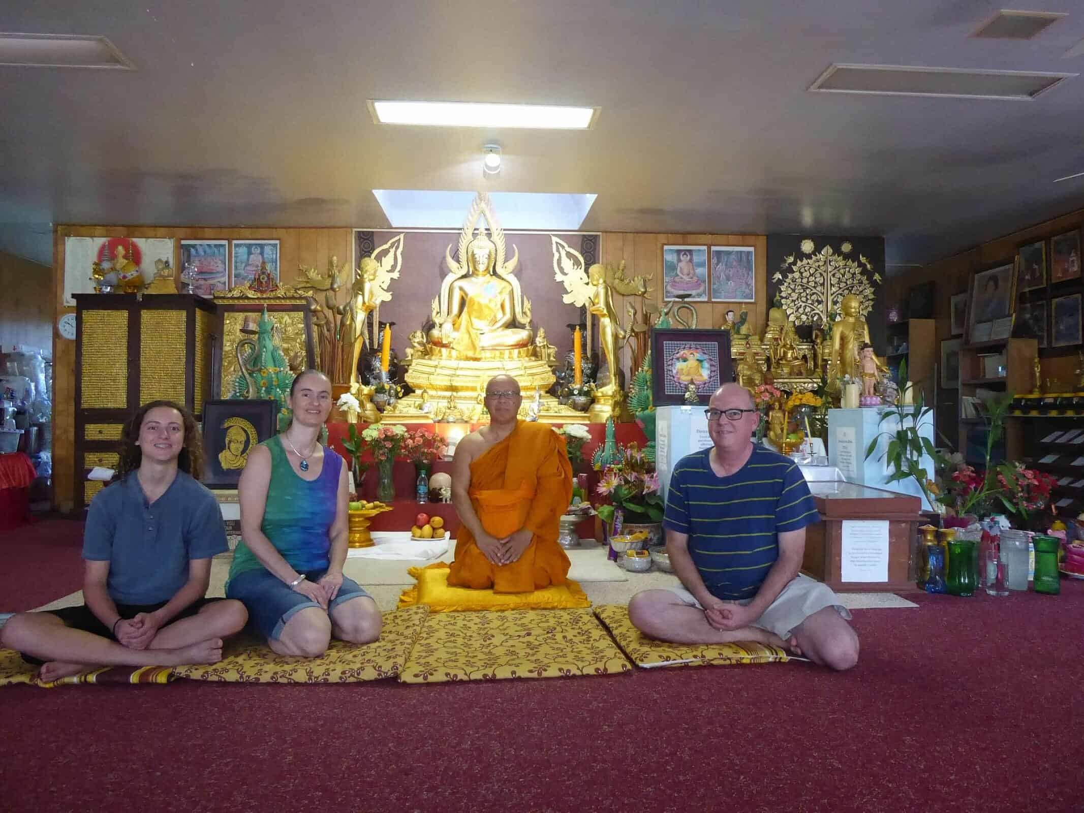 Family with Thai Forest monk now in Waiʻanae